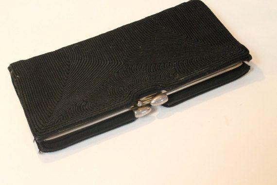 Black Clutch Purse Evening Bag Black Purse by ClockworkRummage