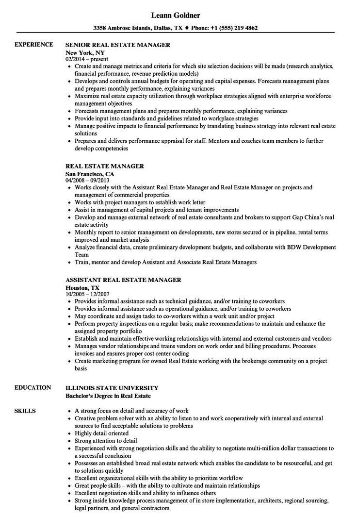 Real Estate Resume Sample Cool Real Estate Manager Resume