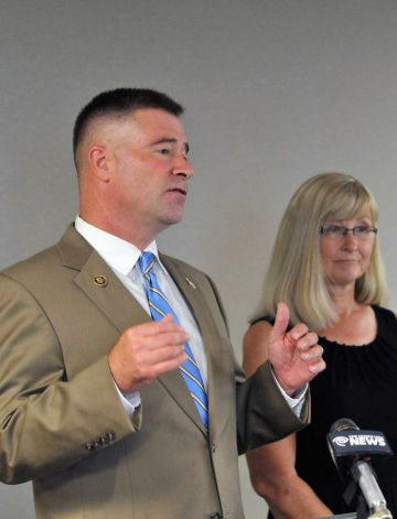Congressman Chris Gibson, left, discusses the 21st Century Cures Act during a press conference Friday, July 10, 2015, at Albany International Airport in Albany, N.Y. (Phoebe Sheehan/Special to The Times Union) Photo: PS / 00032574A