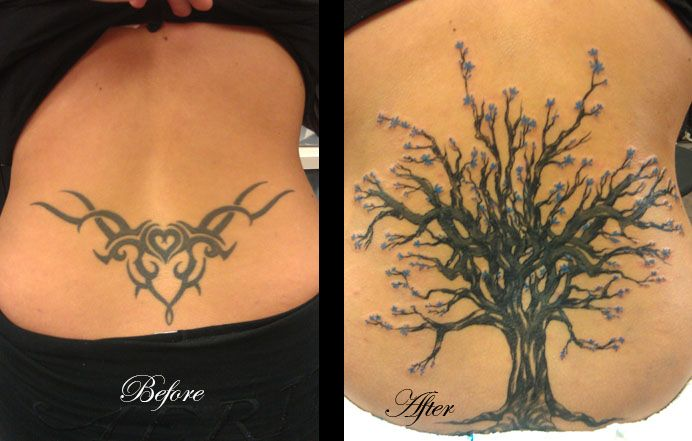 Before and After Tattoo | Cover Up Tattoo From Tribal Heart Back Tattoo to Tree with Blue Flowers  #coveruptattoo #tattoo #bodylanguagetattoo