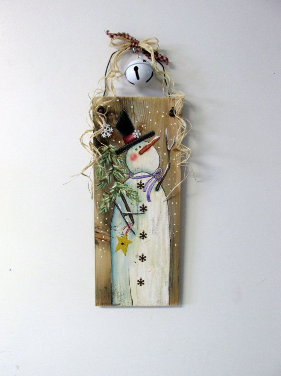 Reclaimed Barn Wood with Hand Painted Snowman, Winter Scene, Snowman with Snowflakes, Tole Painted, Rustic and Primitive Snowman, winter This whimsical Snowman with his Evergreen Tree will welcome any winter time guests! This design is based on a Shara Reiner tole painting pattern.