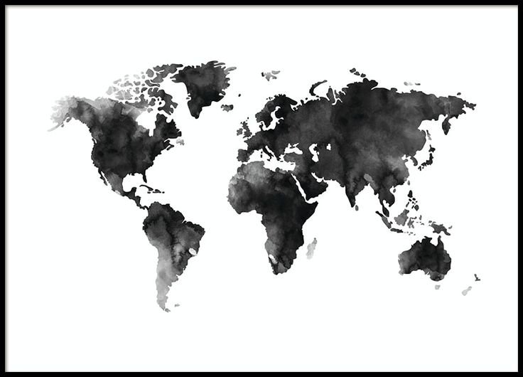 18 best world map prints images on pinterest world map poster world map in black and white painted with watercolor put in a nice frame and gumiabroncs Choice Image