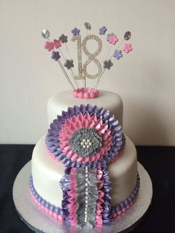 18th purple pink and silver cake