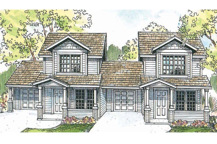 Duplex Plans Craftsman And Craftsman House Plans On Pinterest