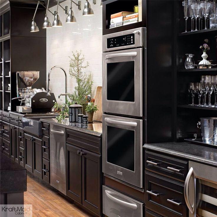 Needs: Trough sink, wine refrigerator, dark cabinetry. LOVE