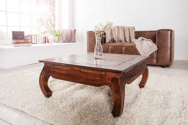"""Extravaganter OPIUM Couchtisch Mahagoni Shabby Chic Coffee 80cm - Dieser formschöne Beistelltisch """"OPIUM"""" aus massivem Holz im Shabby Look ist der ideale Tisch für Ihr Wohnambiente. Der Tisch vermitte"""