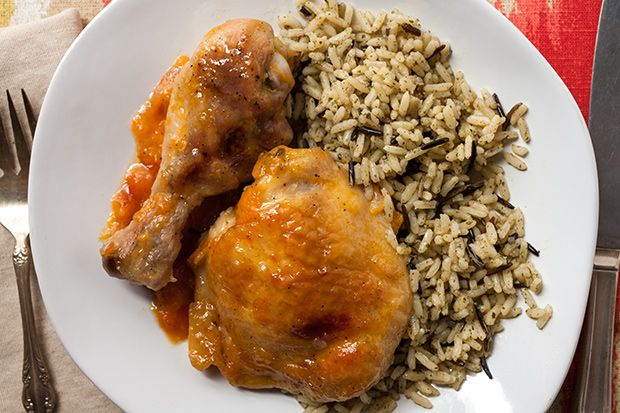 Baked Apricot Chicken (with Wild Rice). A good way to get some fruit ...