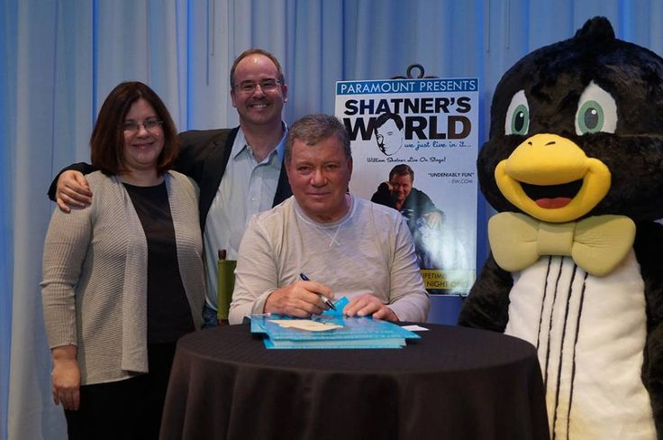 Loonie Times Custom Mascots- Pizzicato Penguin just hanging around with William Shatner!