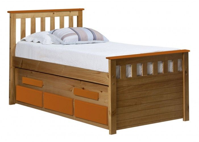 http://www.bonsoni.com/captains-bergamo-guest-bed-3ft-antique-with-orange-details   Slatted bed base included. Matching furniture (wardrobes, bedsides, chest of drawers, dressing table, stools, shelves, storage units, mirrors and lighting) is available.   http://www.bonsoni.com/captains-bergamo-guest-bed-3ft-antique-with-orange-details