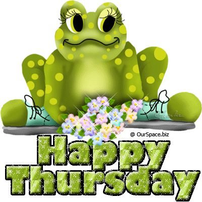 So cute frog with flowers wishing happy thursday