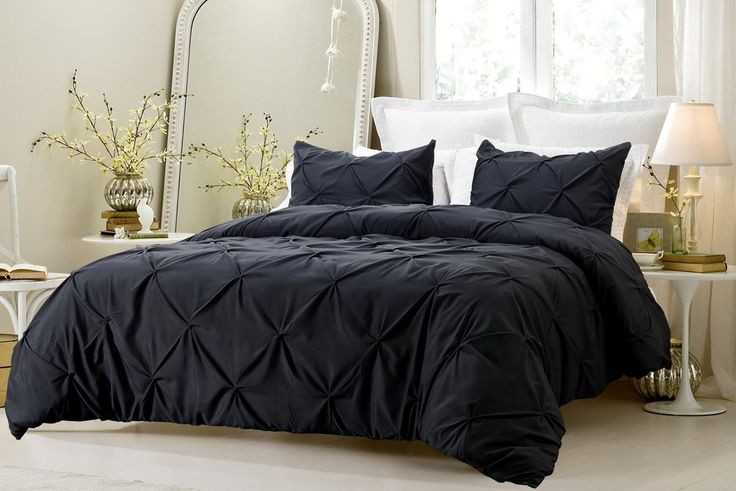 Black Bedding Set Pinch Pleat Duvet 2-3 Piece by Cherry Hill Collection  Free Shipping Always!