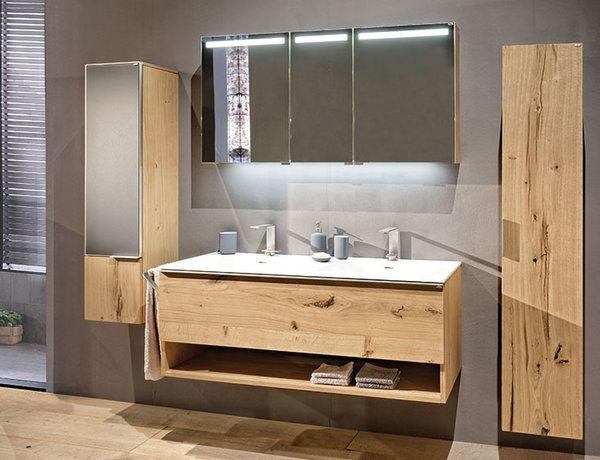 Bathroom mirror cabinet with vanity lighting and translucent satin finish …   – Bad Spiegelschrank nach Maß / Mirrored Bathroom Cabinets