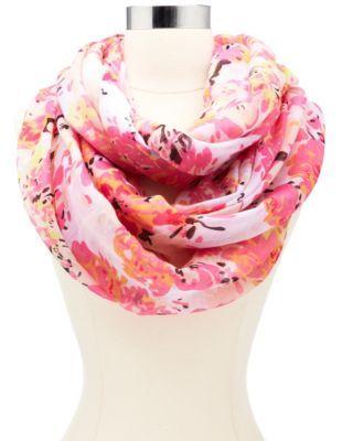 Pink floral printed infinity scarf <333333