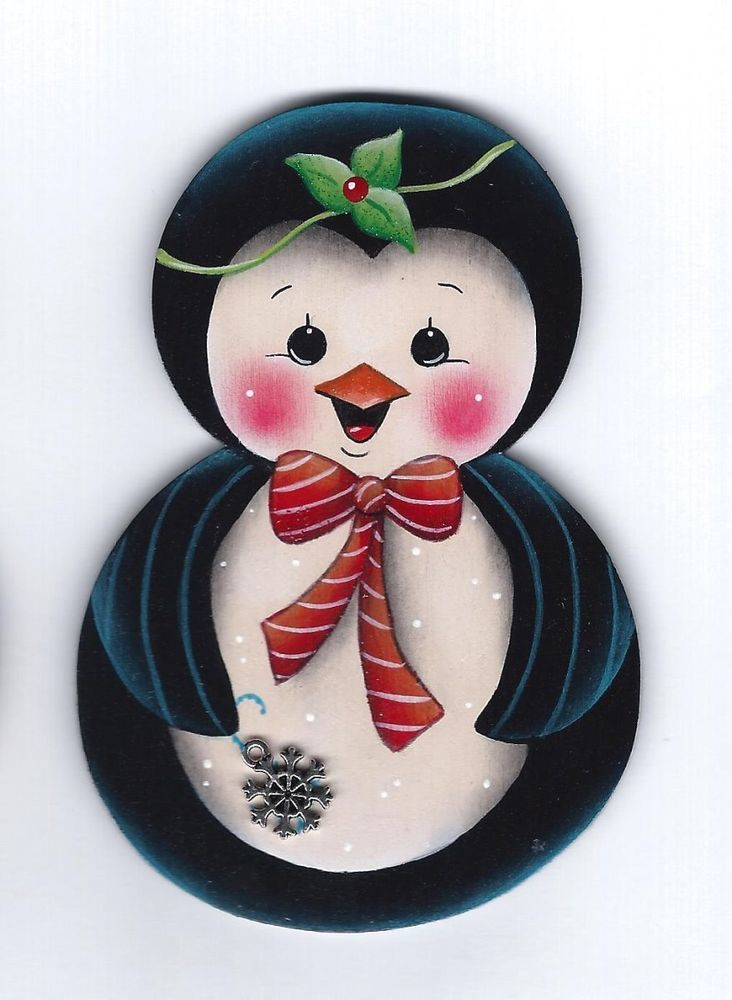 HP PENGUIN Roly Poly with Snowflake FRIDGE MAGNET Handpainted by stonehouse28
