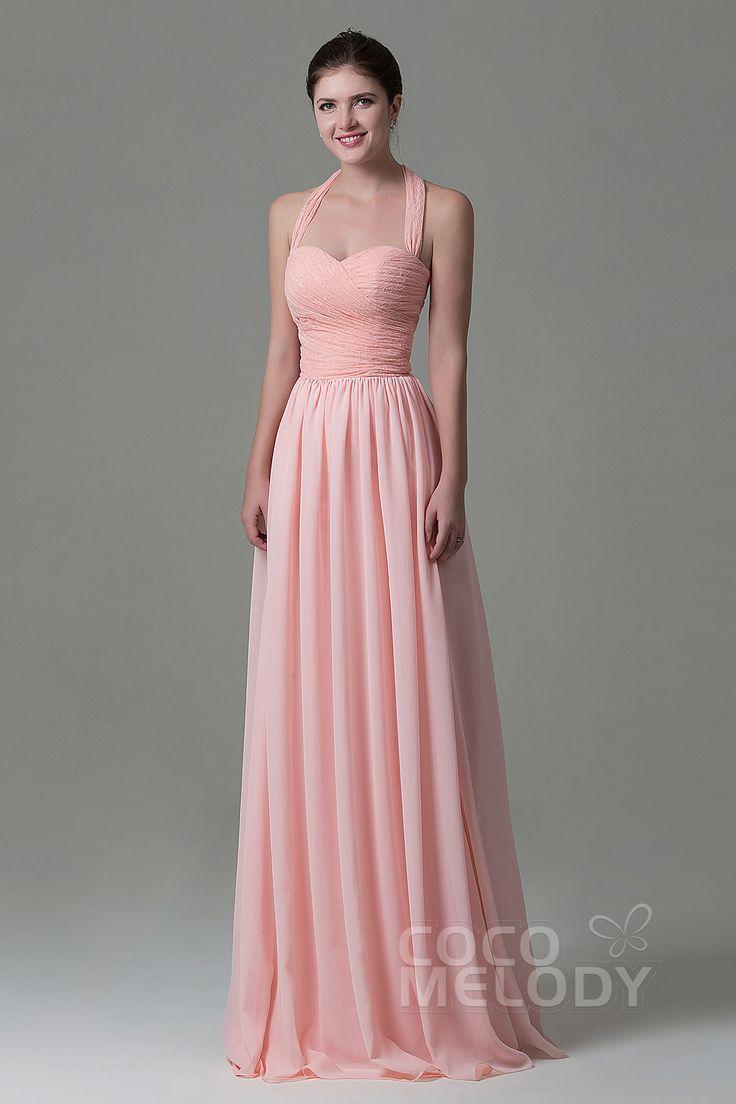 Pretty+Sheath-Column+Halter+Natural+Floor+Length+Lace/Chiffon+Pink+Sleeveless+Lace+Up-Corset+Bridesmaid+Dress+COZK16006#cocomelody #weddingdress
