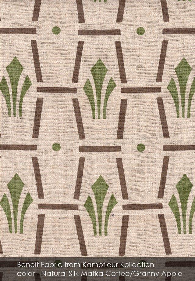 Benoit fabric from Kamofleur Kollection in Natural Silk Matka Coffee/Granny Apple