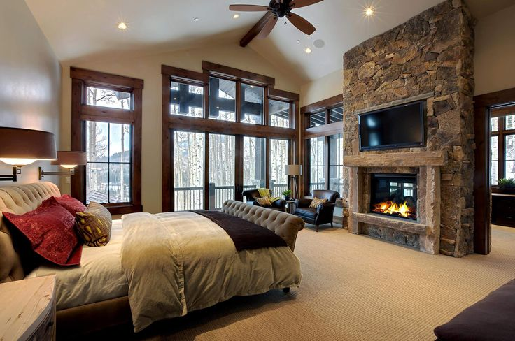 stone wall fireplace and tv - Google Search