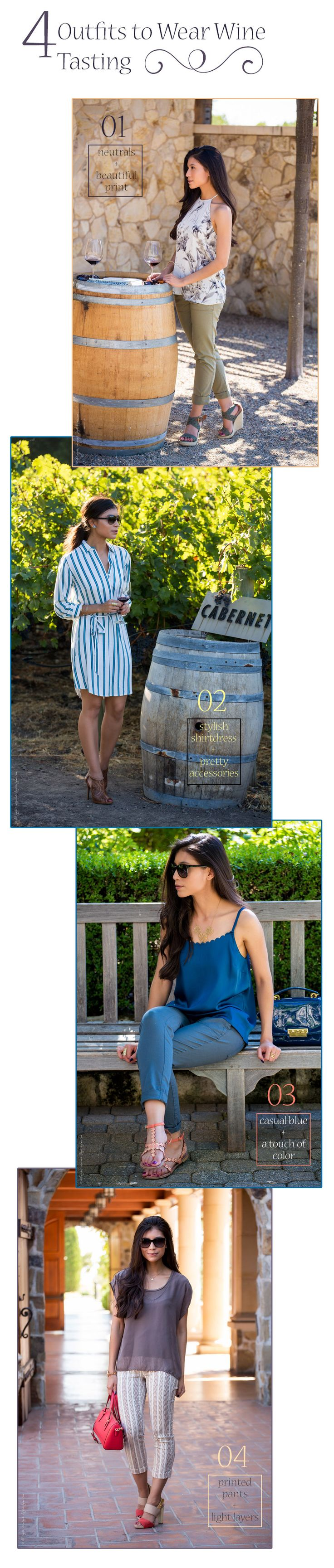 4 outfits to wear wine tasting - Visit Stylishlyme.com for more outfit inspiration and style tips