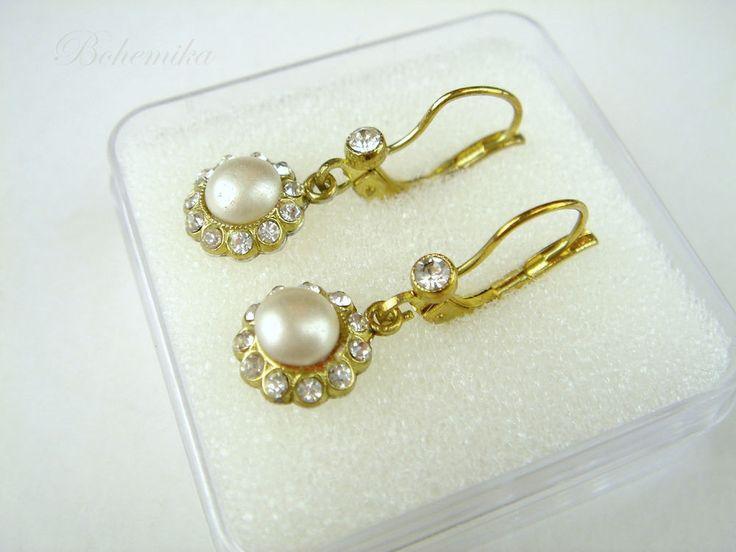 Antique Faux Pearl Vintage Art Deco Czech Glass Gold Tone Dangle Earrings Flower #Unbranded #DropDangle