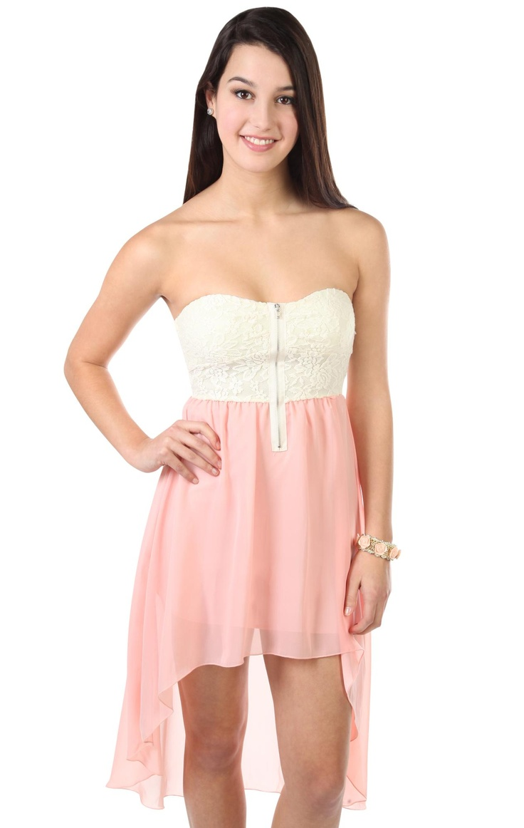 Deb Shops strapless short #dress with #lace bodice and high low hemline
