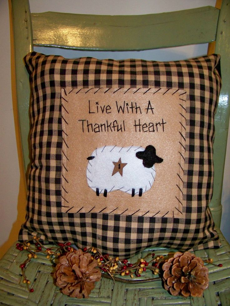 Sheep Pillow Primitive Stitchery Country Decor Rustic Accent Grungy ...