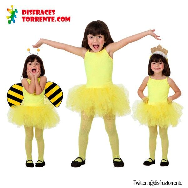 Un disfraz de bailarina de ballet en color amarillo muy chulo. Añádele unas alas y unas antenas y conviertelo en un disfraz de abejita. O c...