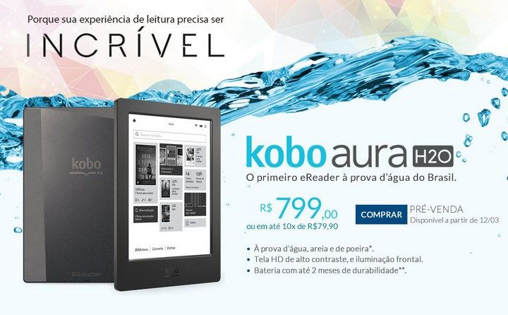Kobo aura H2O disponível na livraria cultura a partir de 12/03 http://danifuller.com/koboaurah2o