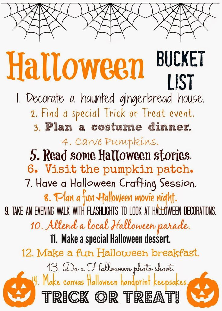 Halloween Bucket List (Free Printable) : The Chirping Moms.  Print this list & check off the fun and easy activities to do with your family as you count down towards Halloween!