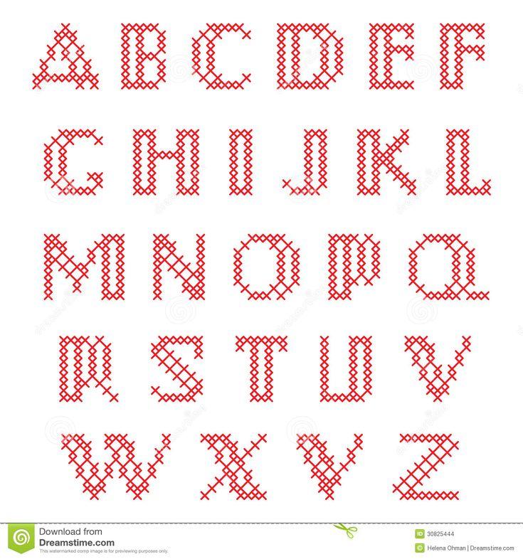 Kreuzstich-Alphabet Stockbilder - Bild: 30825444