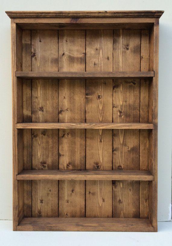 Rustic Handmade Spice Rack Organiser Wall Display 65cm Tall 4 Shelves - Dark Oak Finish
