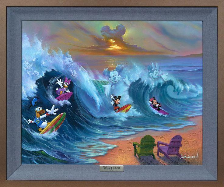 Mickey Mouse - Surfing with Friends - Jim Warren - World-Wide-Art.com - #disney #disneyfineart #silverseries #jimwarren #mickeymouse #minniemouse #donaldduck #daisyduck