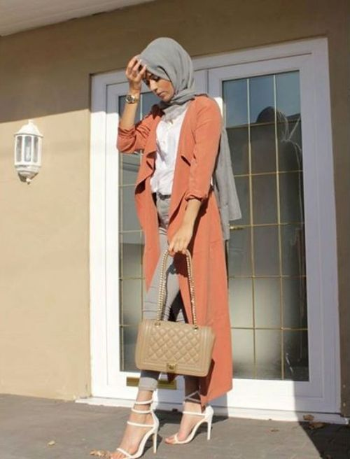 orange trench coat hijab outfit