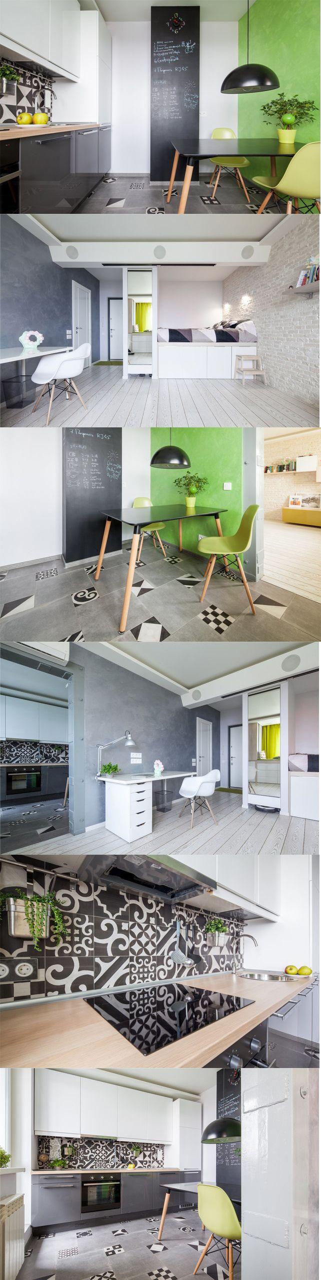 Зеленый цвет, грифельная стена, пестрый фартук на кухне и витровские стулья. + горизонтальное хранение под кроватью. и Кровать высоко - и места внизу много. Главное - делать все выдвижным на колесиках.  Все прекрасно)