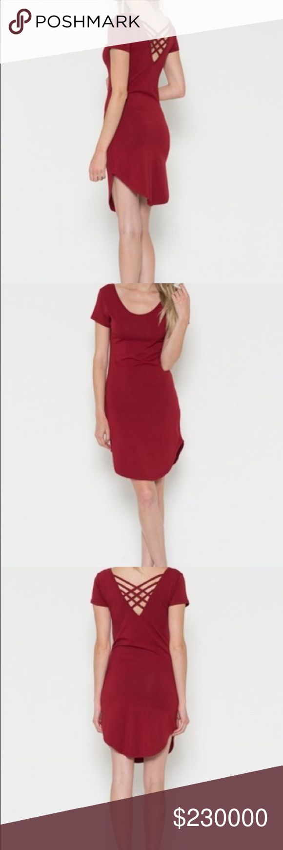 "Sexy Light wine bodycon dress 60% Cotton, 35% Rayon, 5% Spandex                            Small - length: 33"" Bust: 14""                            Medium - length: 33"" Bust: 15""                            Large - length: 35"" Bust: 16"".                                Price is firm unless you bundle Dresses Mini"