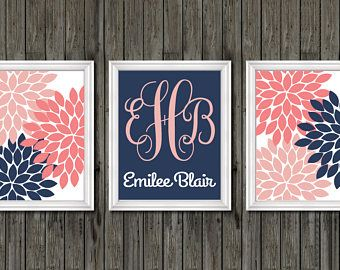 Baby girl nursery coral and navy, navy and coral baby nursery art, baby girl coral and navy, baby art, monogram baby art coral and navy, art