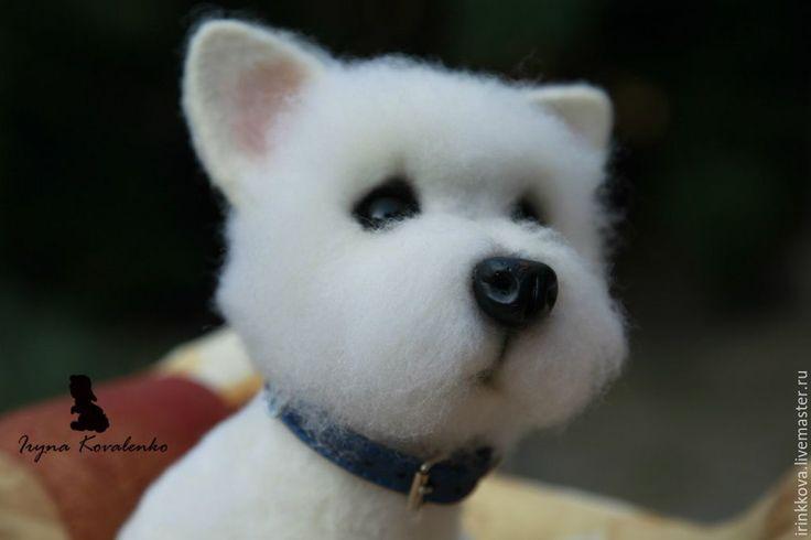 Купить Вилли - белый, собака, собака игрушка, собака из шерсти, собака из войлока, терьер FELTING