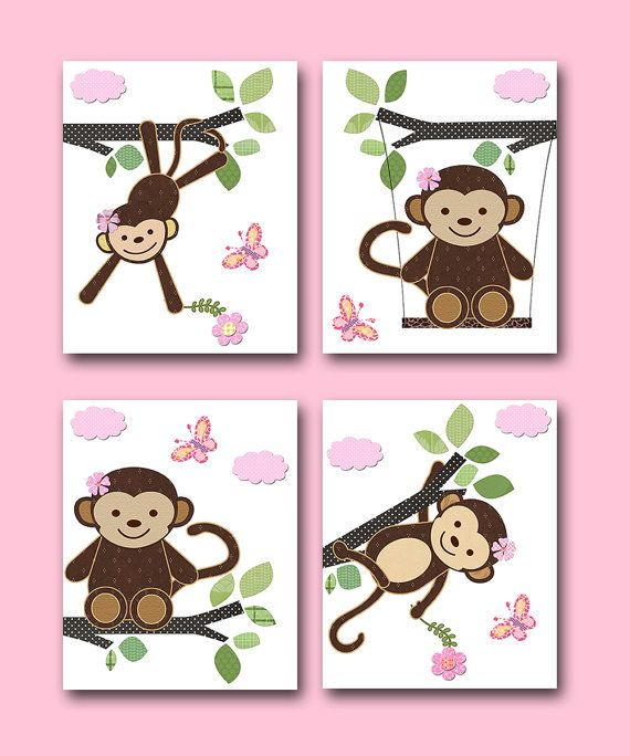 Monkey Nursery Baby Girl Nursery art print by artbynataera on Etsy, $56.00