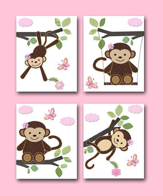Monkey Nursery Baby Girl Nursery art print by artbynataera on Etsy, $56.00