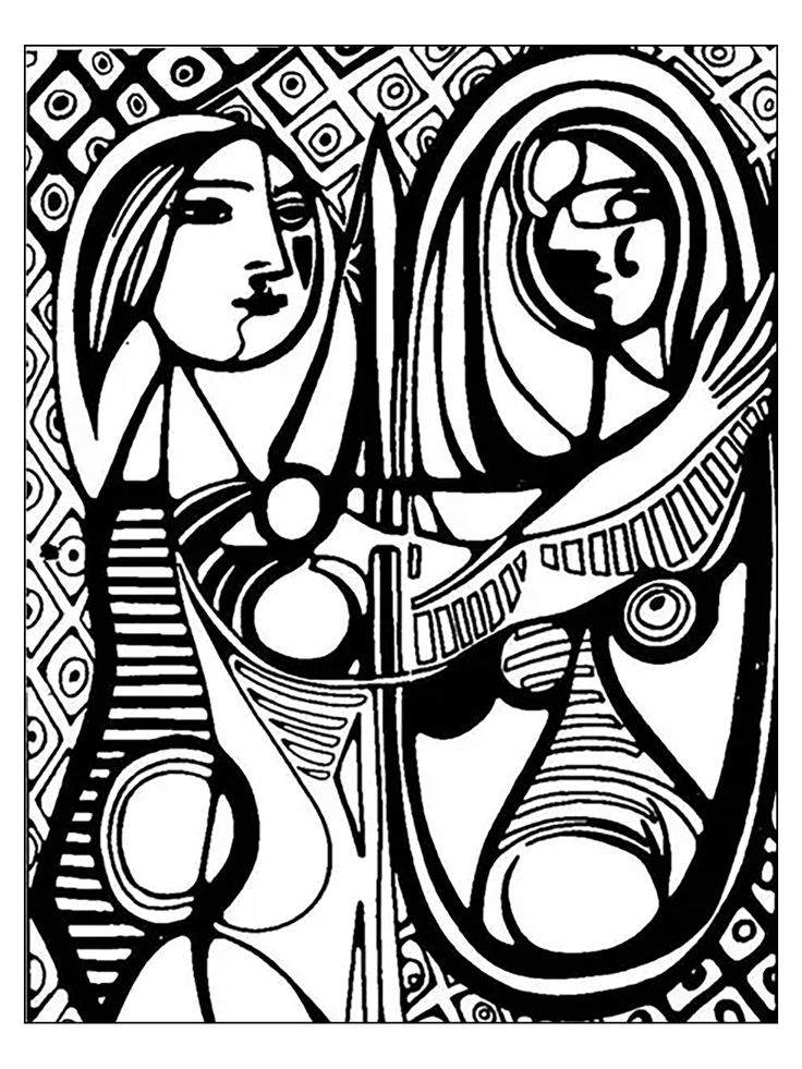 free coloring page coloring adult picasso girl before a mirror