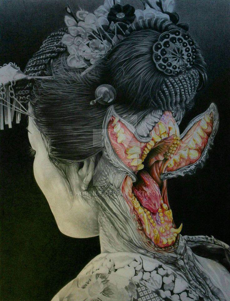 FUTAKUCHI-ONNA (two-mouthed woman) by horinue.deviantart.com on @DeviantArt