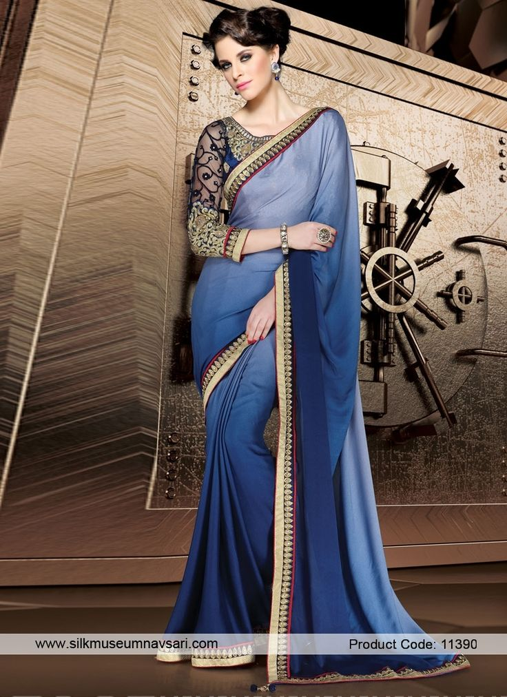 Stunning Blue Designer Saree