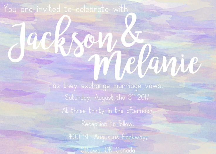 Pastel watercolour wedding invitation   minimalist, bridal
