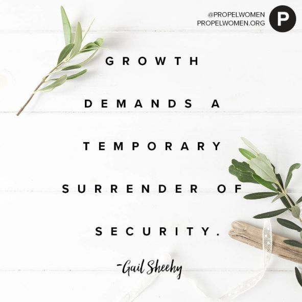 """If we don't change, we don't grow. If we don't grow, we are not really living. Growth demands a temporary surrender of security. It may mean a giving up of familiar but limiting patterns, safe but unrewarding work, values no longer believed in, relationships that have lost their meaning. As Dostoevsky put it, """"taking a new step, uttering a new word, is what people fear most."""" The real fear should be the opposite course. –Gail Sheehy"""