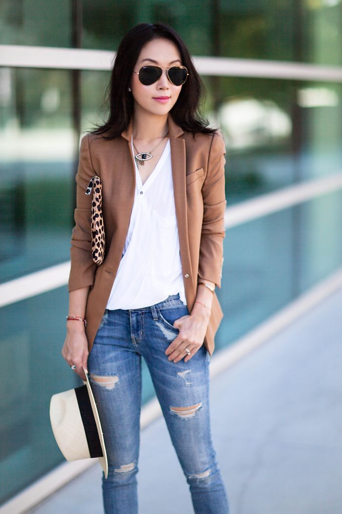 J.Crew REGENT BLAZER, Giuseppe Zanotti Leather Grommet Ankle-Strap Sandals, Helmut Lang 'Lush' Sleeveless Top, Current/Elliott The Stiletto Jeans, Clare Vivier leopard print clutch, Chanel shopping tote, Anine Bing Panama Hat, Evil eye necklace, business casual, Fall style
