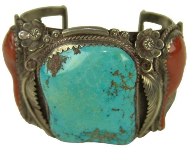 Cuff | Designer ? Sterling silver, turquoise and two oxblood red branch coral stones.  Circa: 1970s, Navajo