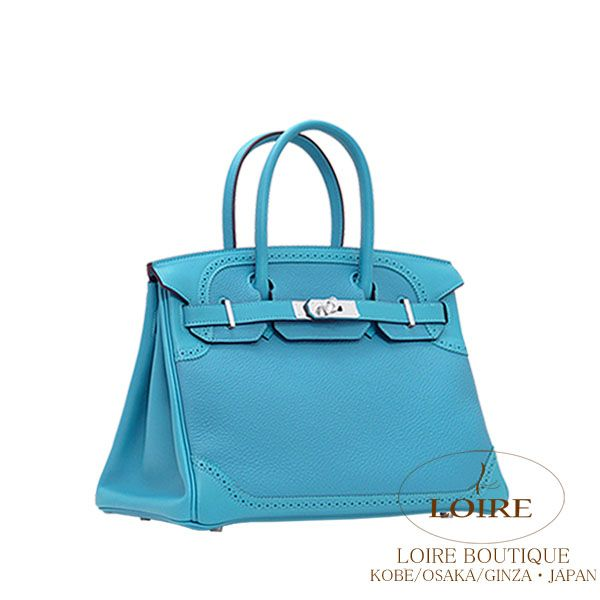 #Hermès #Hermes #Birkin 30 cm Ghillies there x swift turquoise TURQUOISE (7 B) silver hardware