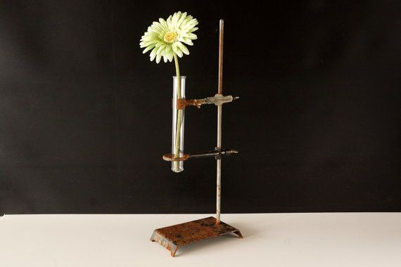 Vintage / Antique Industrial Cast Iron Lab Stand with Ring, Clamp, Test Tube (18.5 inches tall) - Unique Industrial Vase, Laboratory Stand on Etsy, $88.00