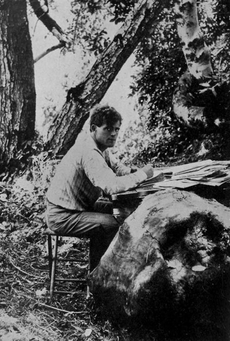 Jack London at the Valley of the Moon, Sonoma County, California, (He built a house here that is now part of a state park; great place to visit. rw)