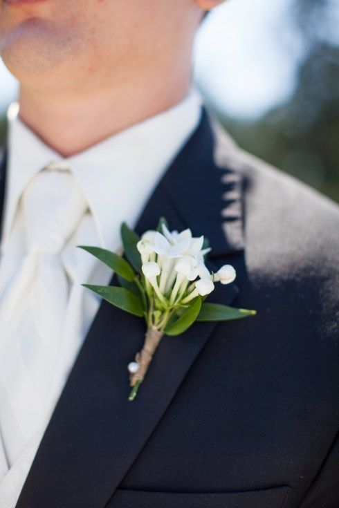 Simple boutonnieres made from white bouvardia and ruscus.