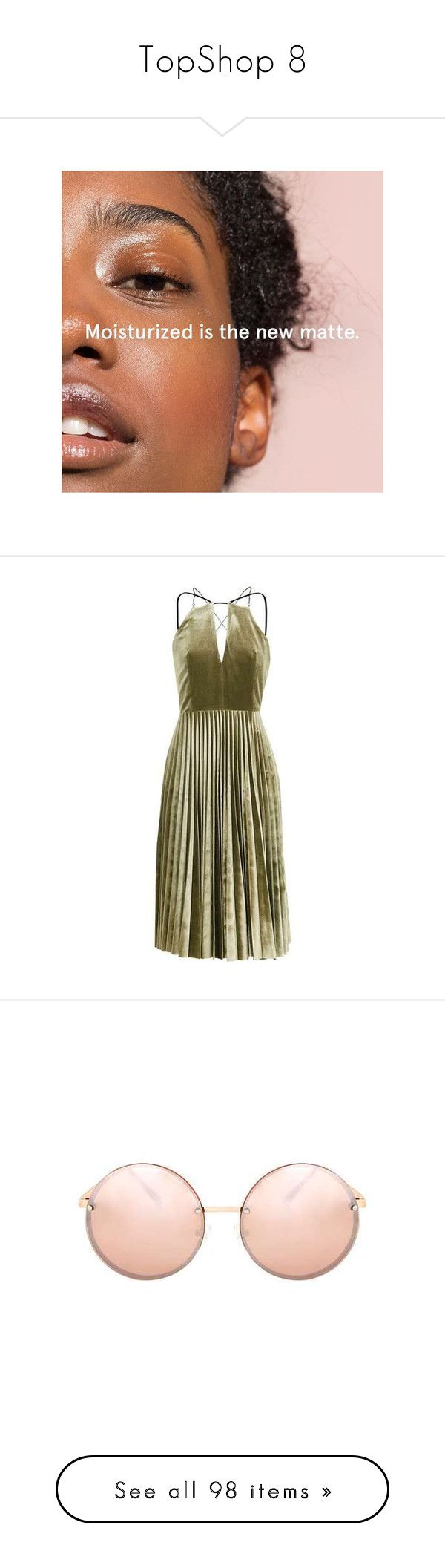 """TopShop 8"" by pocahaunted666 ❤ liked on Polyvore featuring dresses, brown dress, velvet dress, chain dress, brown velvet dress, brown pleated dress, accessories, eyewear, sunglasses and topshop sunglasses"